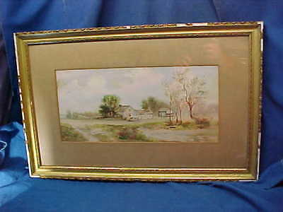 19thc VICTORIAN Era FARM SCENE Landscape WATER COLOR PAINTING Framed + Signed