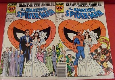 Amazing Spider-Man 21 Annual Marvel Variant Comic Set Wedding Special 1987 Vf+