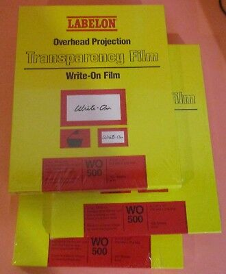 3 x 100ct  Labelon Overhead Projection Transparency Film Write-On WO-500 Clear