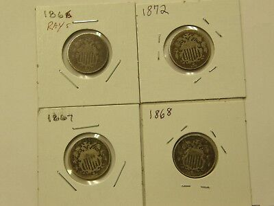 Circulated Lot (4) Different Shield Nickels 1866 W/rays 1867 1868 1872