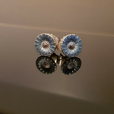 Vintage Georg Jensen Silver Light Blue Enamel Daisy Earrings