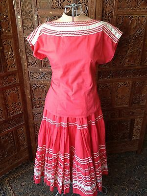 Vintage 50's Thunderbird Fashions Coral Native American Skirt And Blouse Set- XS