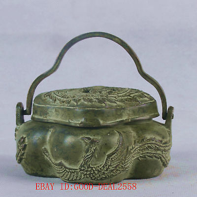 Chinese Bronze Handwork Carved  Phoenix  Incense Burner W XuanDe Mark QT041
