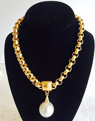 VINTAGE 1980'S ANNE KLEIN RUNWAY COUTURE HEAVY GOLD CHAIN Choker Pearl NECKLACE