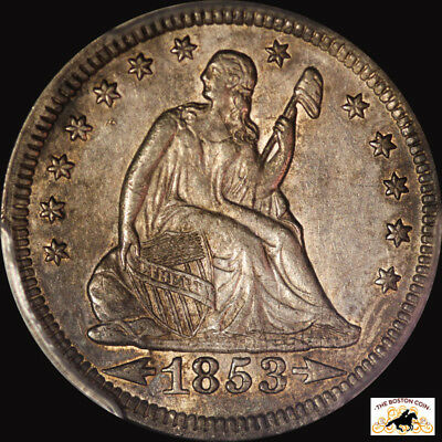 1853 Liberty Seated Quarter Pcgs Au 50 Arrows And Rays Toned