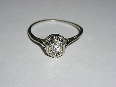 Art Deco 14K White Gold Ladies Filigree & Diamond Ring  Vintage At Its Best