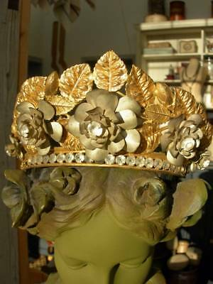 Amazing antique French gilded metal crown with paste stones & flowers