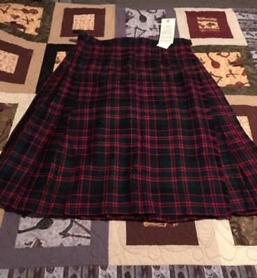 Scottish Highland Pleated Kilt MacDonald Tartan Pure New Wool Women's Size 24