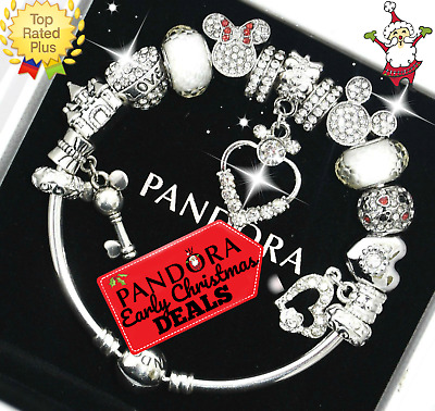 Authentic Pandora Bracelet Silver Disney Mickey Minnie White European Charms NIB