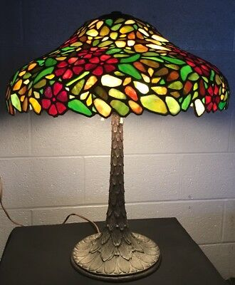 1920's American Leaded Stained Glass & Bronze Table Lamp