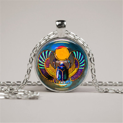 Scarab Necklace Glass Tile Necklace Egyptian Necklace Tile Jewelry Pendant