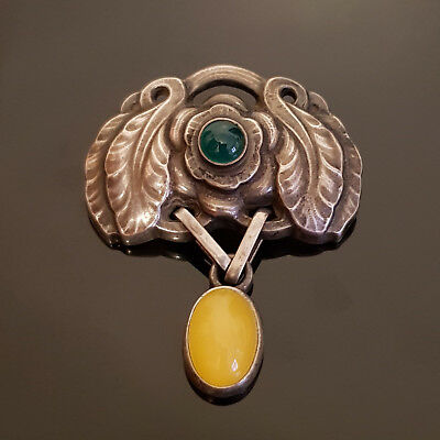 Vintage Georg Jensen Yellow & Green Agate Silver Brooch Design 2008