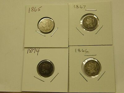 Circulated Lot (4) Three Cent Nickels 1866 1867 1865 1874