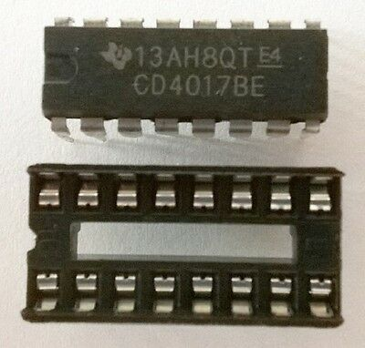 4 x CD4017 Decade counter IC's + 4 x IC sockets - FREE POSTAGE