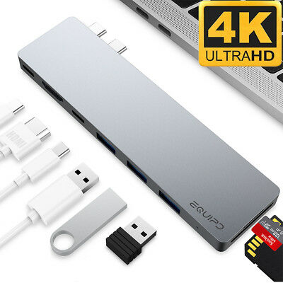 Aluminum USB Type-C 8in1 4K HDMI Hub Adapter Card Reader USB 3 for Macbook Pro