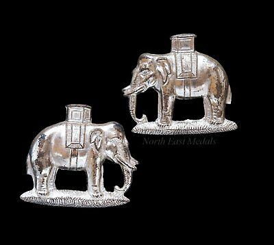 Pair of Duke of Wellington's Regiment Officers Silver Plate Collar Badges