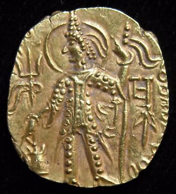 India-Kushan Empire. Vasudeva II Gold Dinar (7.84 g), ca. AD 290-310. Choice XF.