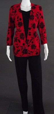 Lands End & Cathy Daniels Red & Black Pant Outfit -  Size 18 Tall