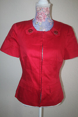 east 5th red fitted blazer jacket S