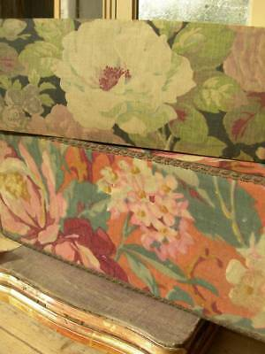 2 vintage French 1920s fabric covered boudoir boxes - mauve roses & florals