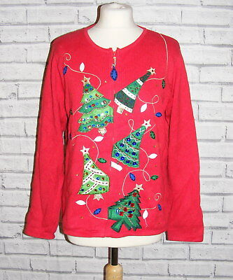 womens ugly christmas jumper cardigan vintage UK 16-18 appliqué embroidered IN45