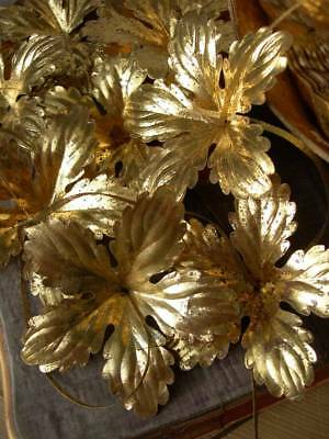 12 antique French convent gilded pressed paper flowers - Christmas C