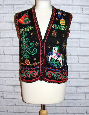 ugly christmas jumper zip waistcoat vintage UK 12-14 appliqué embroidered IN48