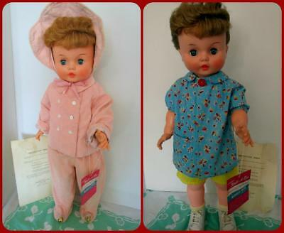 "BEAUTIFUL 27"" Horsman Walk-A-Bye PonyTail 1961 Toddler Doll Winter Pink Snowsuit"