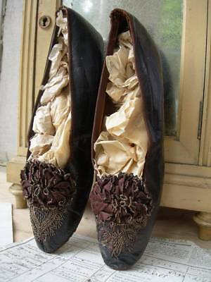 Pair antique French 1860s glace leather shoes w. silk rosettes & beadwork