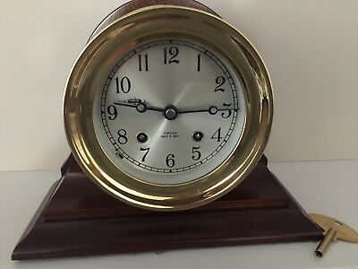 """Vintage  Chelsea Boston 6"""" Heavy Brass Ships Bell Clock with base."""