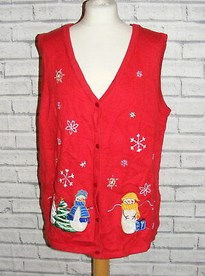 ugly christmas jumper waistcoat vintage UK 20-22 appliqué embroidered red IN60