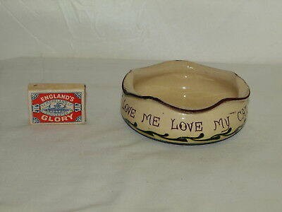 Torquay Pottery Cat Bowl With Scandy Decoration  'love Me Love My Cat'