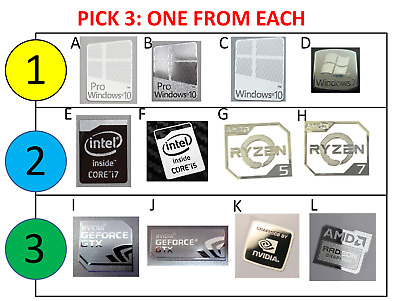 Pick 3: Windows 7/10 Pro Intel i5/i7 Ryzen 7/5/3 Nvidia GTX Metal Badge Sticker