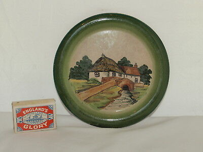 Watcombe Faience Teapot Stand With Cottage, Bridge & River Scene