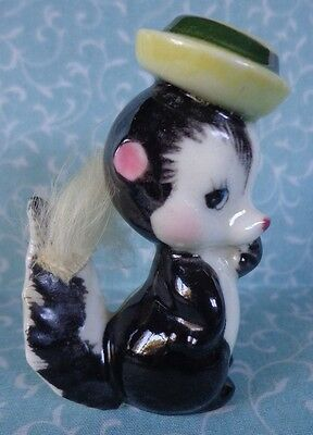 Vintage G Nov Co Pottery Japan Skunk w/ fur & hat with label ~ FREE SHIPPING