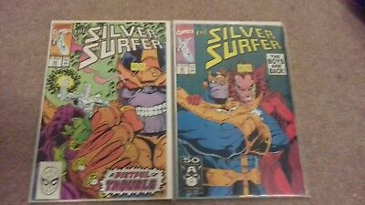 The Silver Surfer #44 & 45 Thanos Cover, Infinity Gauntlet  Marvel Comics WOW!