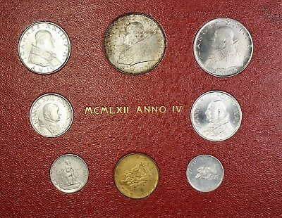 1962 Vatican State 8 Piece UNC Mint Set Pope John Paul 23rd with Silver Coin
