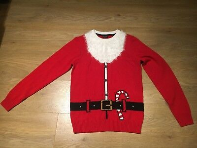 Boys next Father Christmas xmas red wooly jumper age 13 years