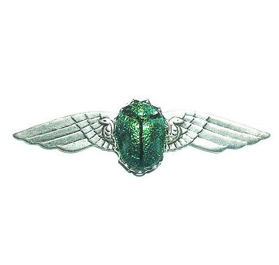 EGYPTIAN REVIVAL Brooch Pin SCARAB Metallic Green Winged Beetle Art Deco