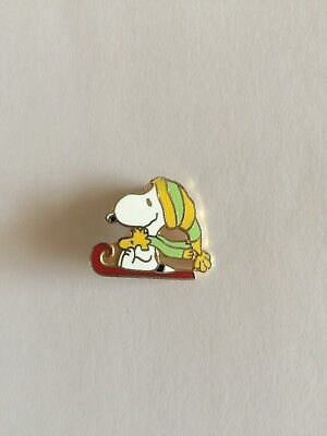 Vintage and Collectable AVIVA CLOISONNE SNOOPY and Woodstock Sleigh Lapel Pin.