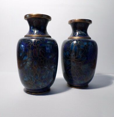 Pair Of Blue Cloisonne Vases