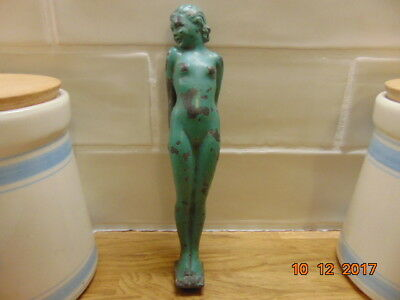 "Art Deco  Sculpture  Of  Nude Woman  Holding A Ball , Cold Painted Green 8"" High"