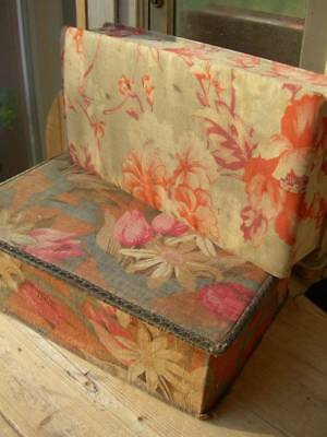 2 vintage French 1920s fabric covered boudoir boxes - pink/orange florals