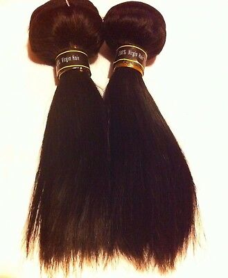 "Brazilian 100% Virgin Human Hair Straight in Colour 1B 8"" 200G (2 x100G Pcs)"