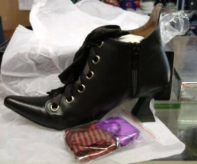 Abigail Shoes Witch Black Magic Fancy Dress Halloween Adult Costume SIZE 6 NEW