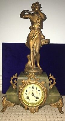 Antique French Marti Clock Bronze & Green Marble Spelter Signed Ferrand