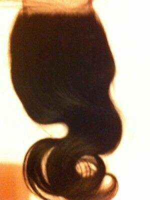 "Brazilian Virgin Hair Swiss Lace Closure Free Part 4x4"" #1B Bodywave 8"""