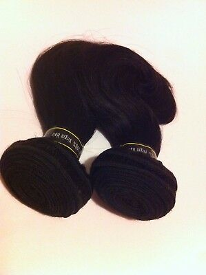 "Brazilian 100% Virgin Human Hair Body Wave in Colour 1B 8"" 200G (2 x100G Pcs)"