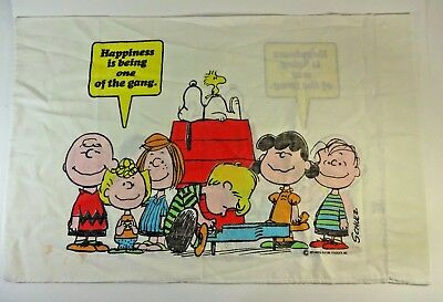 VTG 1971 Peanuts Characters Gang Pillow Case Standard (1) Schultz Snoopy Linus