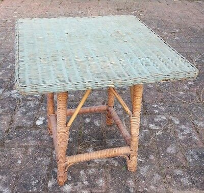 ANTIQUE Rattan WICKER TABLE Colonial 20s Green Square top - no woodworm ! 1 of 2